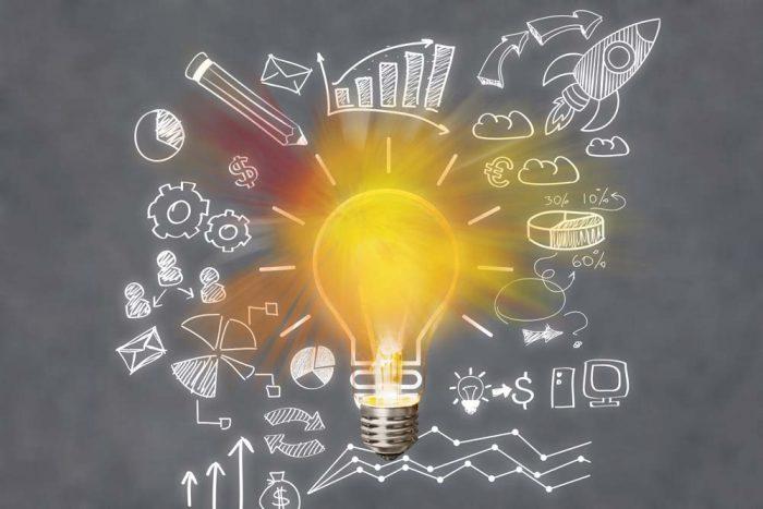Light bulb banner, marketing concept, business idea.