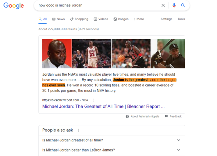 Make it work like Google search results example with qualitative question answering