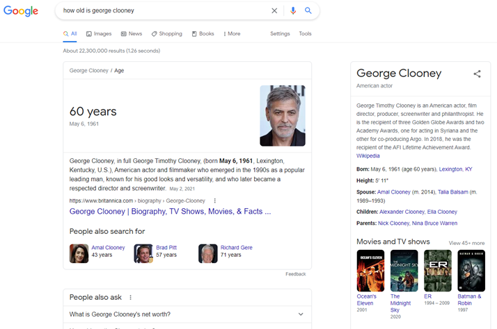Make it work like Google search results example with question answering, snippets, People Also Ask, and answer card